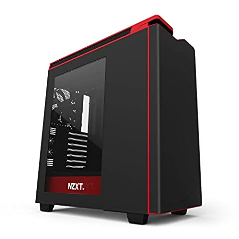 NZXT H440 CA-H442W-M1 Steel Mid Tower Case. Next Generation 5.25-less Design. Include 4 x 2nd Gen FNv2 Fans, High-End WC support, USB3.0, PWM Fan Hub Matte Black/Red
