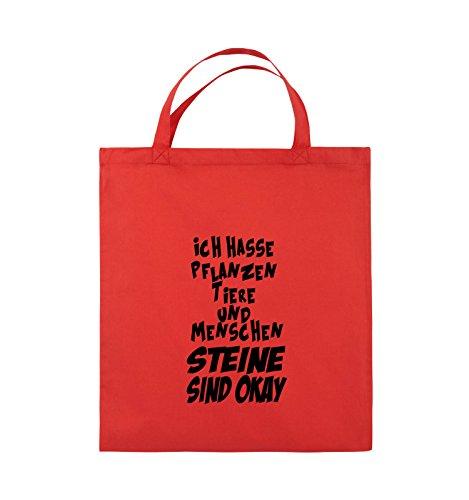 Comedy Bags - ICH HASSE PFLANZEN TIERE - Jutebeutel - kurze Henkel - 38x42cm - Farbe: Schwarz / Silber Rot / Schwarz