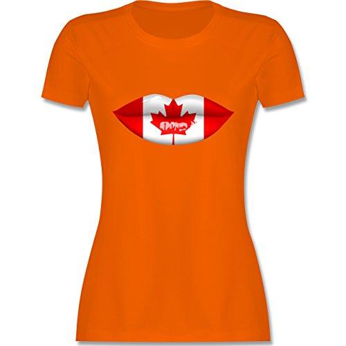Länder - Lippen Bodypaint Kanada - tailliertes Premium T-Shirt mit Rundhalsausschnitt für Damen Orange