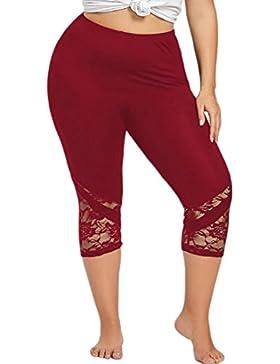 Ba Zha Hei Las mujeres de moda de encaje más el tamaño de los pantalones flacos yoga deporte pantalones polainas...