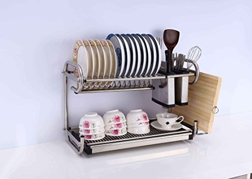 2 Tier Layers Stainless Steel Dish Plate Cup Crockery Cutlery Rack Kitchen Drainer Organizer Holder Drip Tray