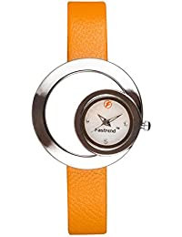 Fastrend Quartz Ladies Watch - Genuine Leather Analog Watch For Women - Round And Yellow Wrist Watch