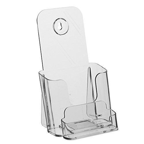 DIN Lang (99x210mm) Prospekthalter / Prospektständer / Flyerhalter mit Visitenkartenfach / Visitenkartenhalter / Visitenkartenbox / Flyerständer