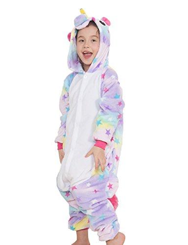 Pigiama o Costume di Cosplay Party Halloween Bambini Sleepwear Animali di Carnevale Onepiece Intero Unicorno Regalo di Compleanno Per Ragazza o Ragazzi (XL(Altezza: 125-134CM), Stelle)