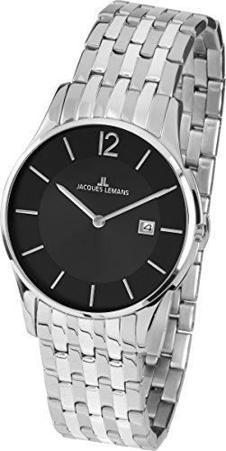 Jacques Lemans Unisex Analog Quarz Uhr mit Edelstahl Armband 1-1852E