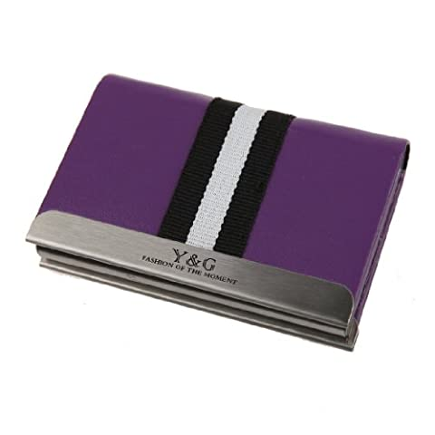 YDC02A05 Luxury Accessories Purple Leather Elastic Card Cases Evening Designer