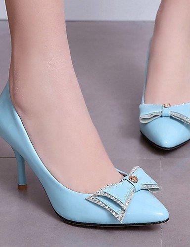 WSS 2016 Chaussures Femme-Bureau & Travail / Habillé / Décontracté-Bleu / Rose / Beige-Gros Talon-Talons-Talons-Similicuir beige-us7.5 / eu38 / uk5.5 / cn38