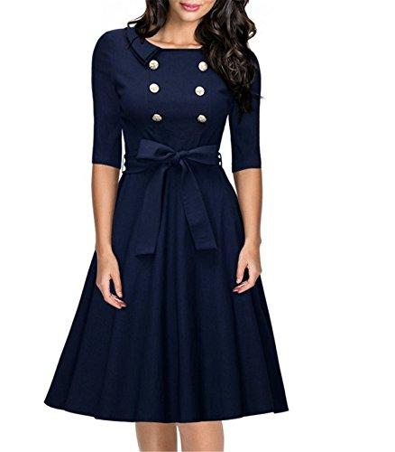 Chez BoBos Robe Femme Croisée Vintage Année 50s Taille Haute Slim Robe de Soirée et Casual Courte Bleu