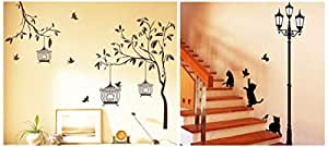 Decals Design Polyvinyl Chloride, Vinyl Tree with Birds and Cages, Ancient Lamp and Cats Wall Sticker Combo