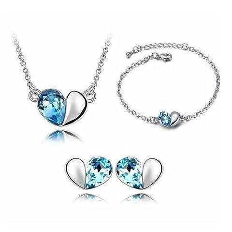 Fashmond- 'La Magie d'amour'- Bijoux Parure de Coeur Collier Bracelet Boucles d'oreilles Cristal Bleu- Idée cadeau