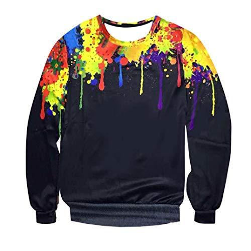 Quaan Herbst Winter Herren Mode Lange Ärmel Splash-Tinte 3D Gedruckt Sweatshirt Oben Bluse Sweatshirt Jacke Mantel Outwear Warm Windjacke Pelz Sonnenlicht Baumwollmantel Büro draußen