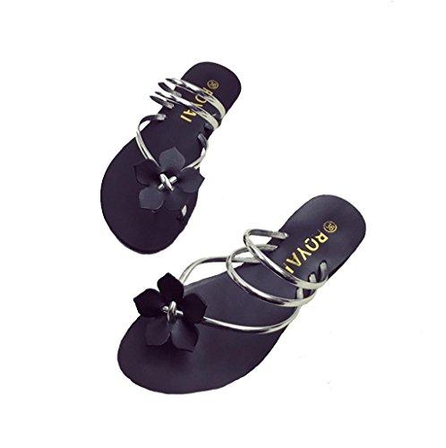 DM&Y 2017 Wohnung mit niedrigen Abs?tzen Frauen Sandalen Bohemien Toe s¨¹?e Blumen Sandalen zu tragen Silver