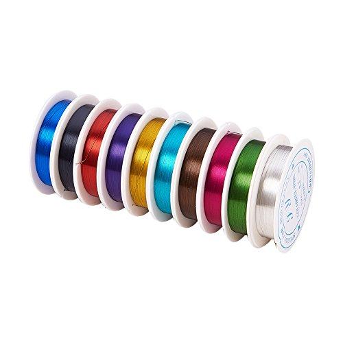 pandahall - Lot de 10 Bobines Fil de Fer Assortiment Fil Métallique 0,3mm Pour DIY Bijoux Loisirs Creatifs, Couleurs Melangees, environ 20m/Bobine