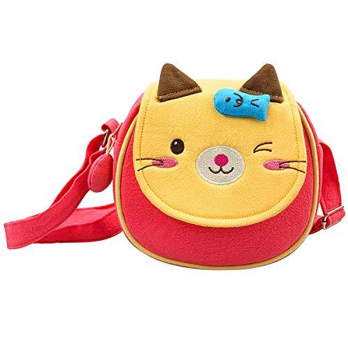 Cosyres Kinder Umhängetasche Kindertasche für Mädchen Schultertasche Klein (Pink Katze)