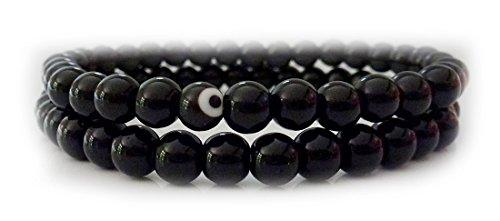 Doppel Armband aus schwarzem Obsidian mit Evil Eye (Das Auge) – Schutzstein Heilstein Meditation Yoga Spiritualität Esoterik