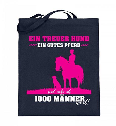 Hochwertiger Jutebeutel (mit langen Henkeln) - Ein treuer Hund ein gutes Pferd Dunkelblau