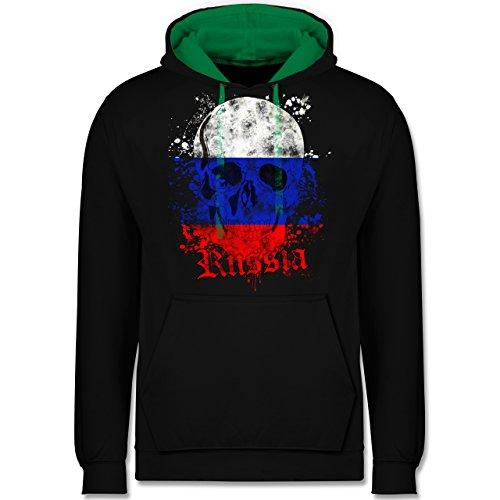 Fußball-WM 2018 - Russland - Russia Schädel Vintage - Kontrast Hoodie Schwarz/Grün