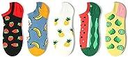 YAUASOPA Women Cute Socks Funny Kawaii Ankle Socks Cartoon Strawberry Pineapple Fruit Yellow Lemon Banana Wate