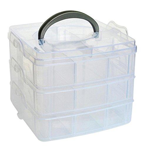 Kamay's Medium 3 Tier verstellbare Perle Handwerk Schmuck Werkzeug Storage Organizer, mit 18 Fächer, Container Box, (Werkzeug-organizer Storage Box)