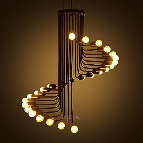 BBSLT Spiral chandelier en fer forgé , noir