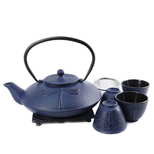Cuisiland Teekannen-Set mit 4 Tassen aus Gusseisen, Libellen-Design, ca. 37 oz, Blau (Gusseisen Teekanne Set Mit 4 Tassen)