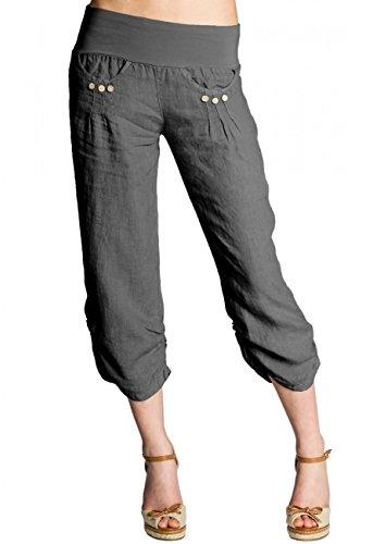 CASPAR Damen Leinen Hose 3/4 Sommer Boyfriendhose/Stoffhose/Capri Hose/Made IN Italy - viele Farben - KHS017, Farbe:grau;Größe:40 L UK12 US10 Sportliche Hose
