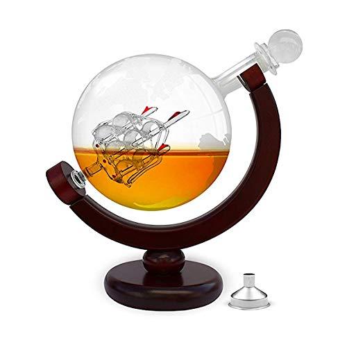 FORYOU24 Whiskeykaraffe im Globus Design - Weltkugel Dekanter aus Glas mit Segelschiff Dekor - Scotch Decanter - Handarbeit - 850ml