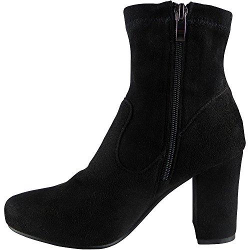 Da Donna Elastico Chelsea Chunky Tacco Caviglia Stivali Dimensione 36-41 STYLE NO: 3