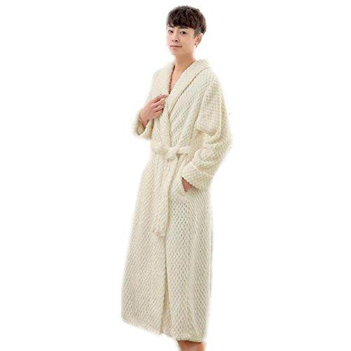 LIUDOU Caldo autunno inverno pigiama ispessito uomini Coral Fleece lungo accappatoio flanella Multi colore opzionale , white , xl