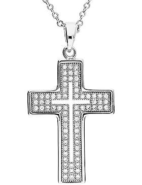 MYA art Damen Kinder Kette Halskette Kreuzanhänger mit vielen Swarovski Elements in Weißgold vergoldet Silber...