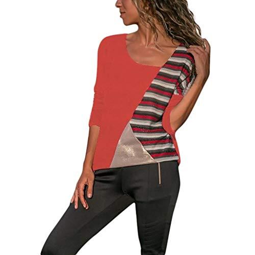 URIBAKY Oberteile Kurzarm Damen Bluse Crop Tops übersteigt,Pullover Für Sommer T-Shirt Oberteile-Farben-O-Ansatz beiläufige Lange Hülsen-Patchwork-Streifen