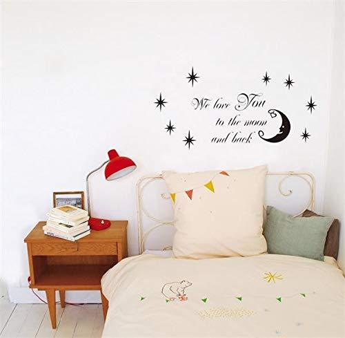 WDQTDW Wandaufkleber Wall Sticker Wir Lieben Dich Bis Zum Mond Und Zurück Star Quotes Wall Sticker Vinyl Tapeten Tapetensticker DIY Home Kunst Dekor Abnehmbar (Wir Lieben Dich Bis Zum Mond Und Zurück)