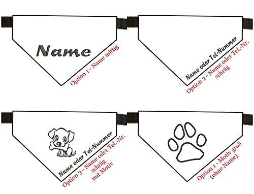 Halstuch mit Name bestickt für Hunde – Farbe mint kariert – inkl. Halsband – Größe XS – S - 3