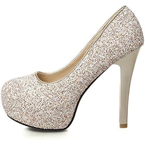 Primavera y otoño moda ultra zapatos de tacón alto/Zapatos de mujer de la cabeza/Brillo zapatos