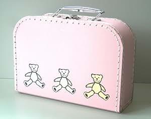 Valise de vacance pour Enfant ou pour Poupée - Teddy / Ours en peluche rose - carton - 2519