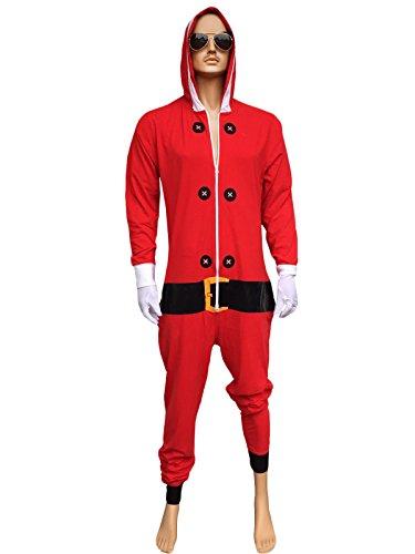 Eingefroren Kostüme (Unisex Herren Damen Elf Santa All in One Weihnachten Onesie Kostüm Overall Größen Klein bis 4XL (XL, Leichte Santa)