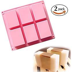 Artesanía jabón molde, molde de tarta, para galletas Chocolate, molde cubito de hielo, 6 cavidades rectangulares