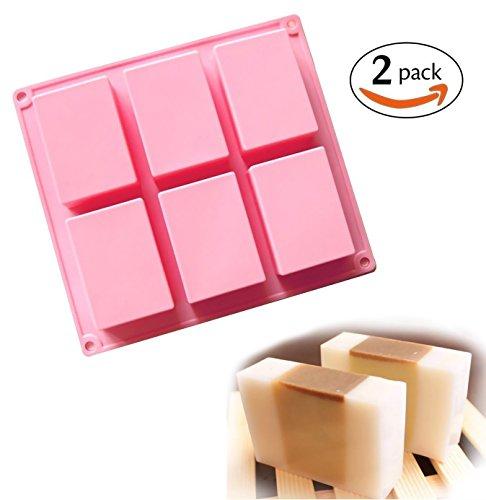 (2Stück) 6Mulden, Uni Basic Rechteck Silikon Form für Homemade Craft Seife Schimmel, Kuchen Form, Biscuit Schokolade Schimmel, Ice Cube Tablett