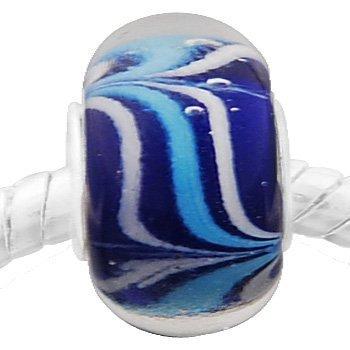 Andante-Stones perle Murano Glas Bead Argent 925 Silber bleu foncé avec tourbillons blancs, bleu clair Élément bille pour perles European Beads + Étui en organza