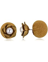 Spargz New Rose Flower Party Gold Double Side Pearls Stud Earring For Women AIER 730