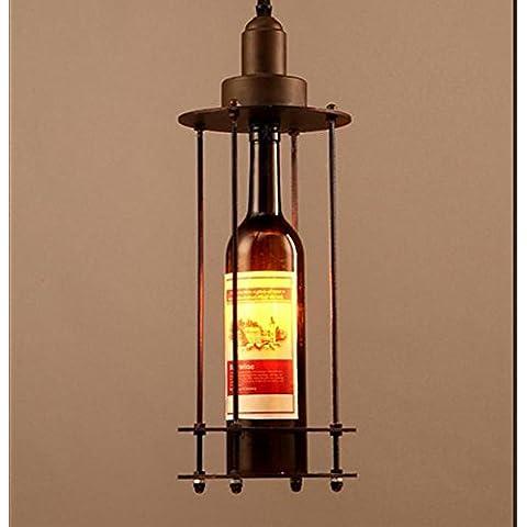 FUMIMID Industriale di bottiglia di vino retrò lampadario ferro vento ristorante caffetteria bar corridoio creativo Lampadario 160 * 1660 (mm)