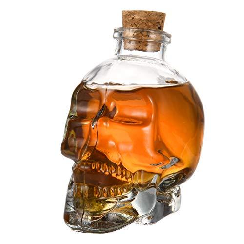 Uarter Carafe à décanter en verre transparent multi-usage en forme de tête de mort, pour whisky et vodka - 180 ml