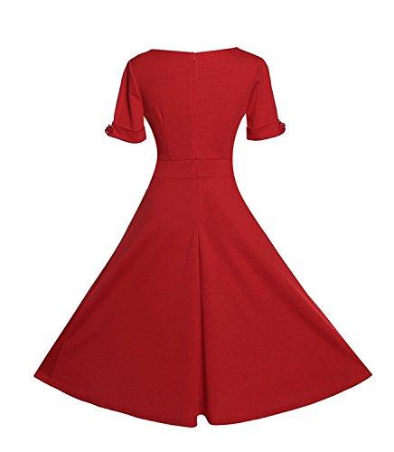 Gigileer 50er Rockabilly Kleid / Rotes Cocktailkleid - 3