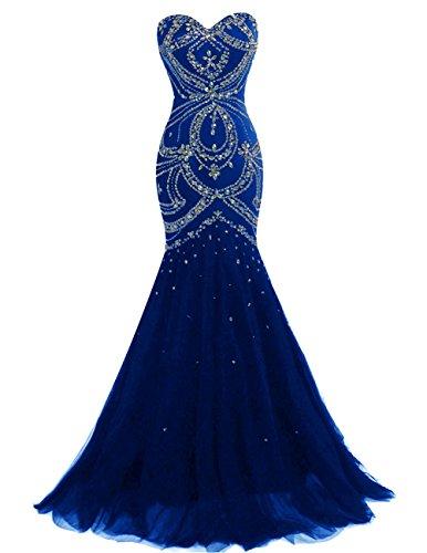 Dresstells, Robe de cérémonie Robe de bal forme sirène/trompette traîne moyenne emperlée Bleu Saphir