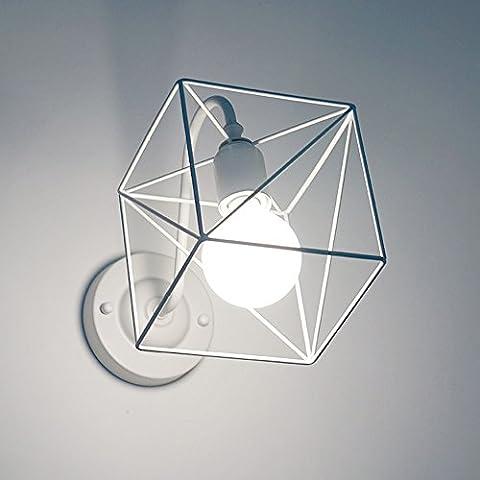 Rétro Metal Applique Murale Blanc Lampe Murale Cage Industriel Vintage Luminaire Edison Culot E27 Creative Décoration Escaliers LOFT ( ampoules non incluses)