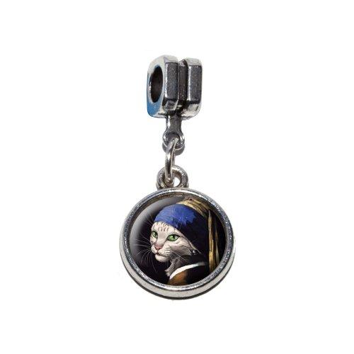Die Katze mit The Pearl Ohrring Parodie–Das Mädchen mit dem Perle Ohrring Johannes Vermeer Italienisches europäischen Euro-Stil Armband Charm Bead–für Pandora, Biagi, Troll,, Chamilla,, ()