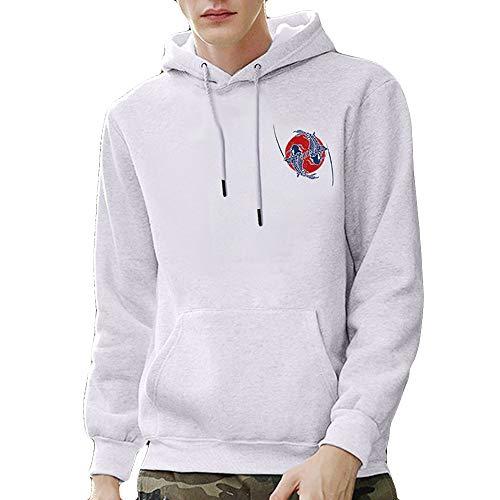 Kaiki 3D Glücklicher Koi Druck Hoodies Unisex Kapuzenpullover Herren Langarm Pullover Männer Sweatshirt (Large,Weiß)