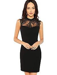 cf3c137e175 SOLY HUX Damen Spitzen Kleid Ärmelos Bodycon Ballonkleid mit Reißverschluss  Figurbetontes Sommerkleid Minikleid Party Kleider