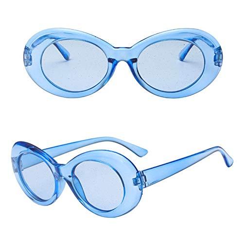 YUHANGH Sonnenbrille Frauen Bunte Glitter Linsen Transparent Frame Oval Sonnenbrille Männer Eyewear