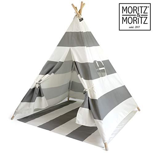 Moritz & Moritz Tipi Strisce Grigie - Tenda per Bambini Tenda Giocattolo Idea Regalo - con Pavimento e Finestra - per casa e Giardino